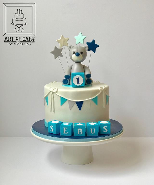Surprising Bear Topper Boy 1St Birthday Cake Cake By Akademia Cakesdecor Birthday Cards Printable Opercafe Filternl