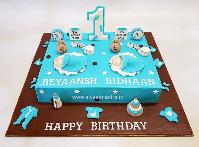 Magnificent Customized Cake For Twin Boys 1St Birthday Cake By Cakesdecor Personalised Birthday Cards Bromeletsinfo