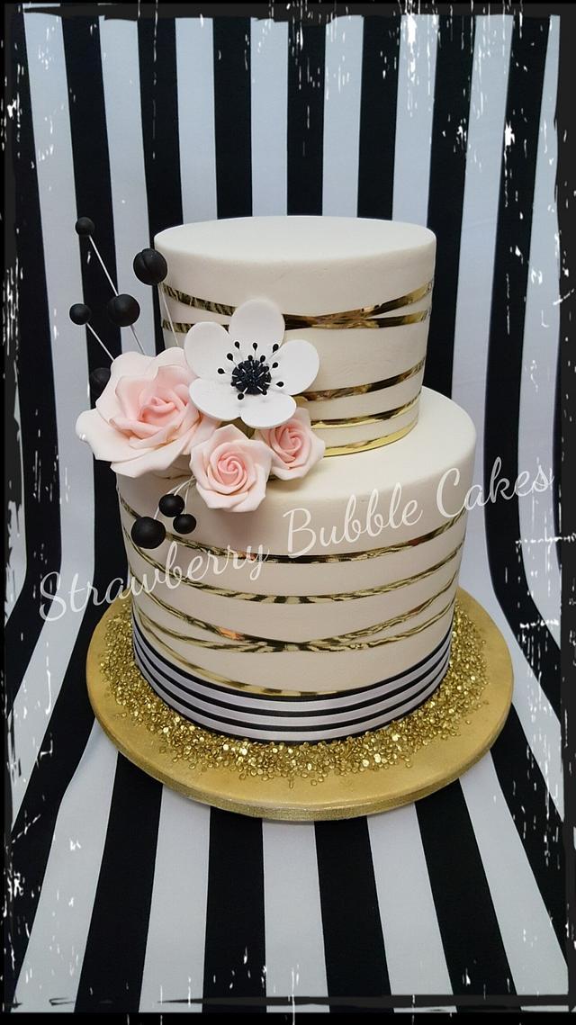 Classic pinstriped cake