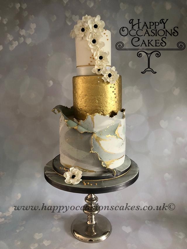 Marble Torn wedding cake