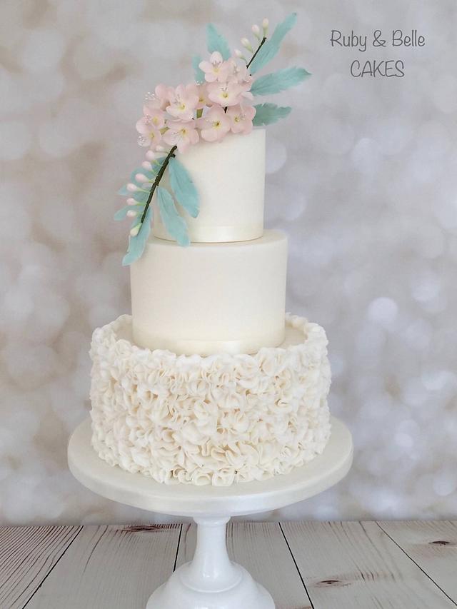 Freesia ruffle wedding cake