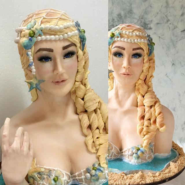 Mermaid bust cake