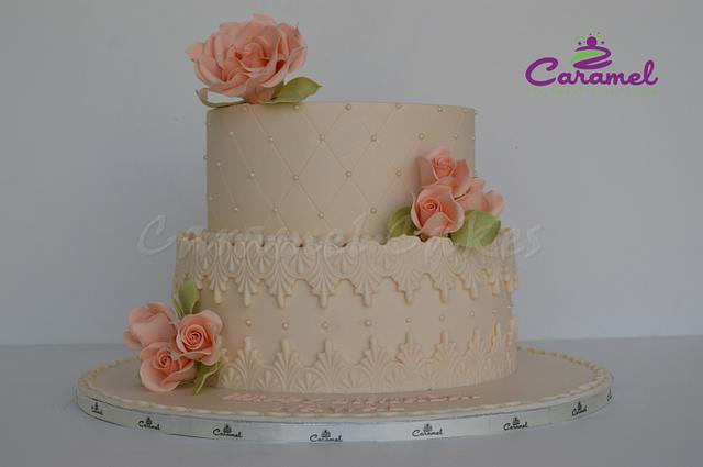 Remarkable Simple N Elegant Birthday Cake Cake By Caramel Doha Cakesdecor Funny Birthday Cards Online Bapapcheapnameinfo