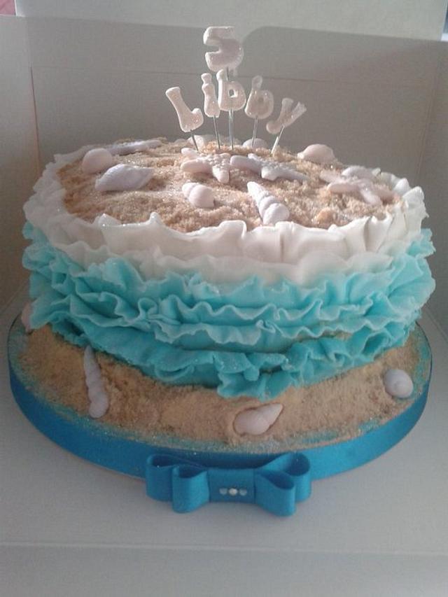 Marvelous Beach Themed Birthday Cake Cake By Hellosugar Cakesdecor Funny Birthday Cards Online Overcheapnameinfo