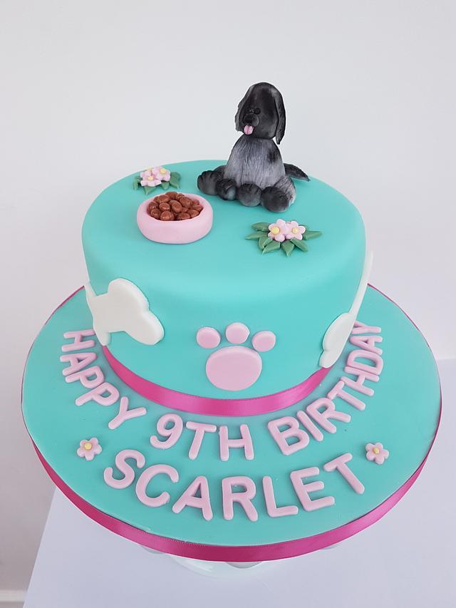Fabulous Aqua Doggy Birthday Cake Cake By Kirstyscakes1 Cakesdecor Funny Birthday Cards Online Elaedamsfinfo