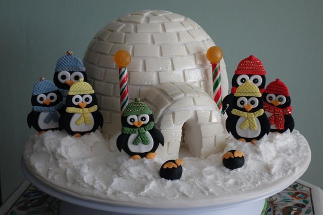 Christmas igloo cake with penguins