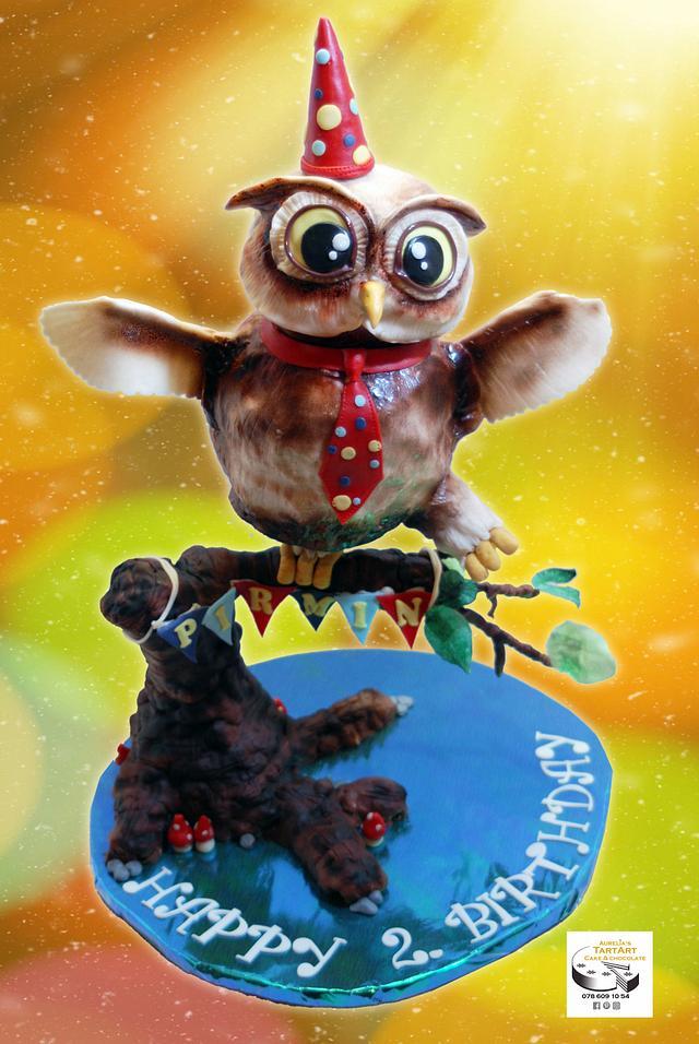 owl birthdaycake