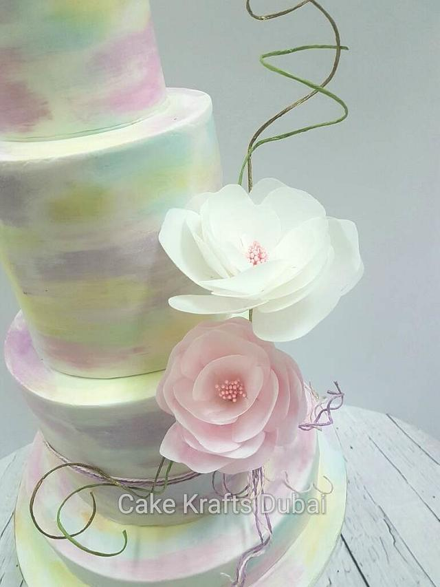 Watercolor with wafer paper flowers