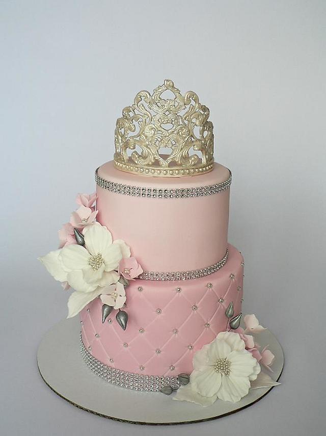 Pink Princess crown cake