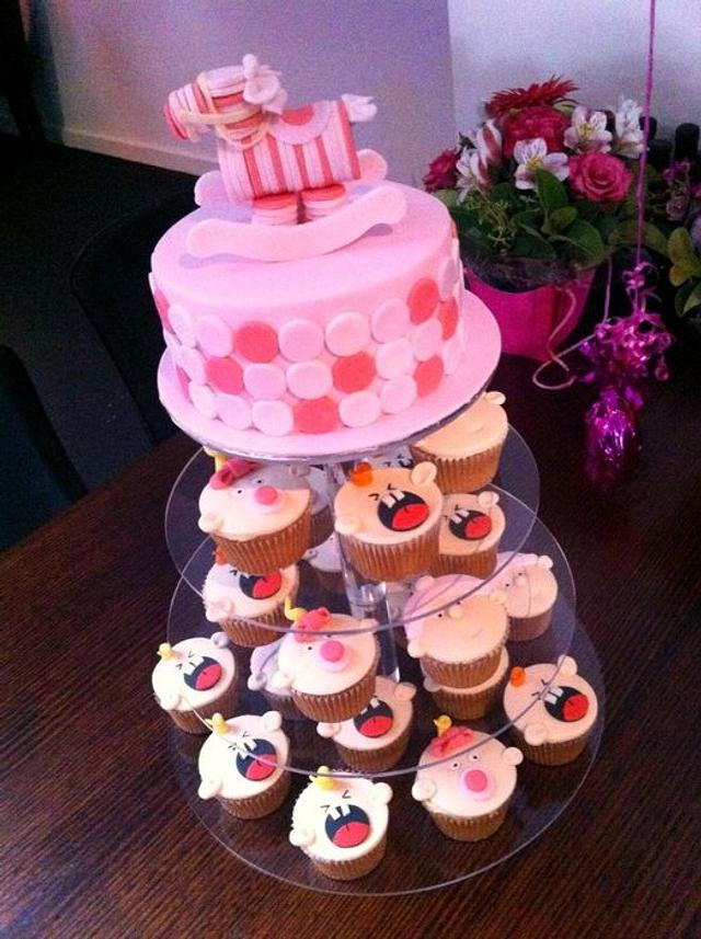 Katie's Baby Shower Cake n Cupcakes