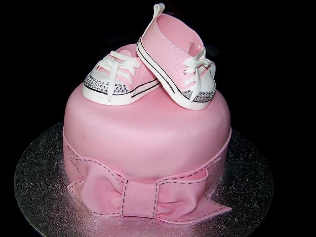 Girl Baby Shower Cake with Bling Sneakers