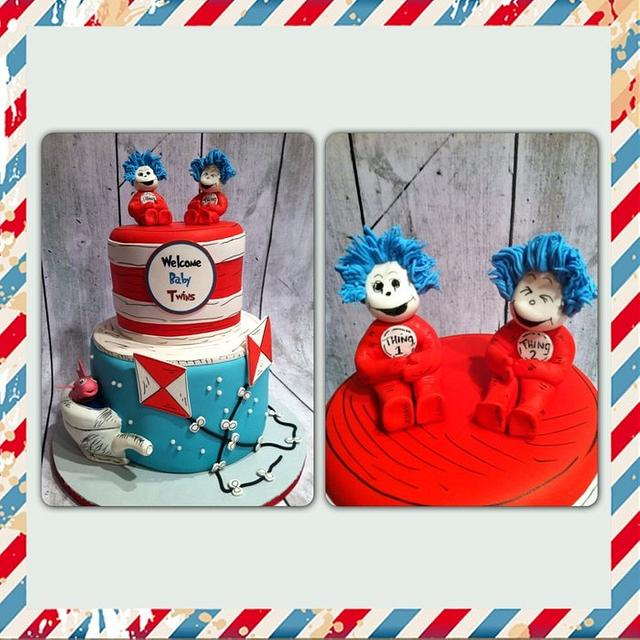 Thing 1 and Thing 2 baby shower cake