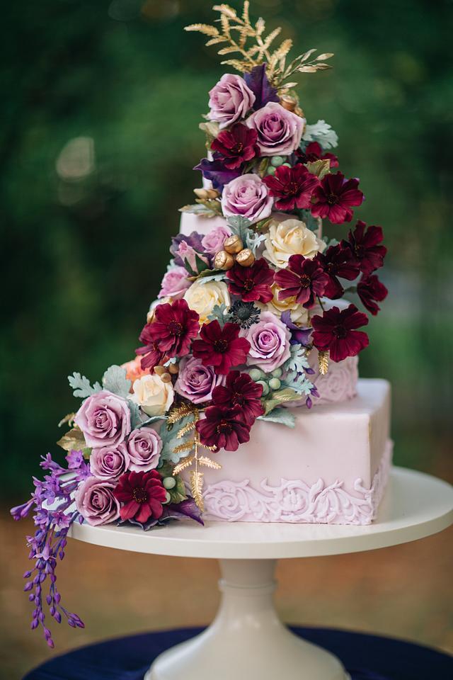 Fall/ Autumn Sugar Flower Wedding Cake