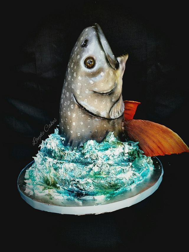 Sculpted lake trout cake