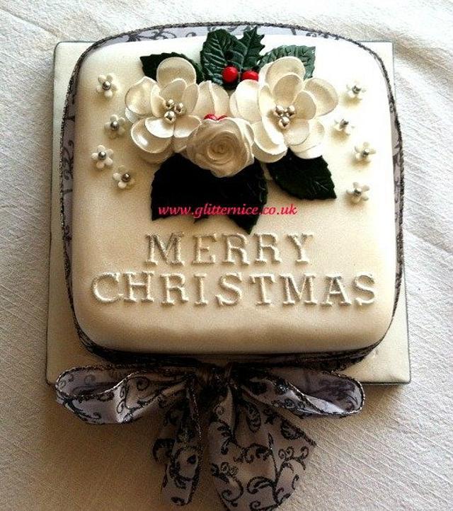 White Christmas Rose Cake