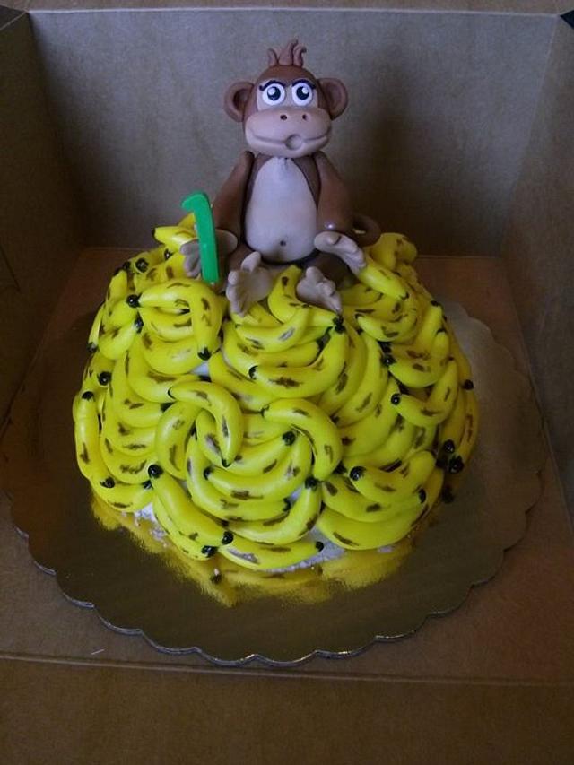 Cool 1St Birthday Monkey Themed Smash Cake Cake By Jeana Cakesdecor Personalised Birthday Cards Xaembasilily Jamesorg