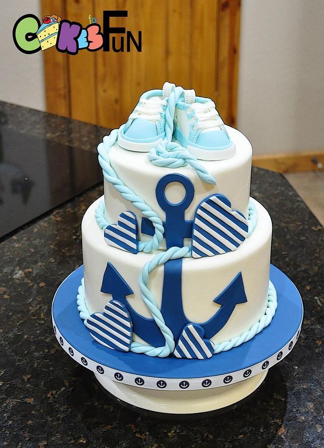 Nautical Themed Baby shower cake