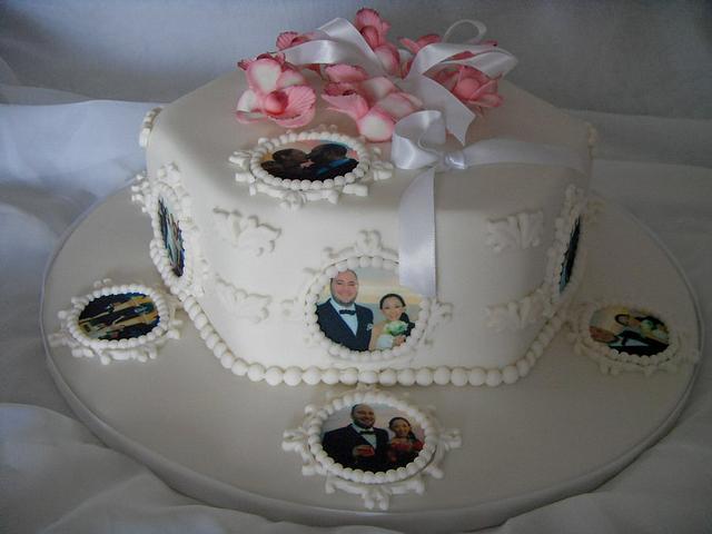 Hexagonal Edible Image & Orchid Wedding Cake