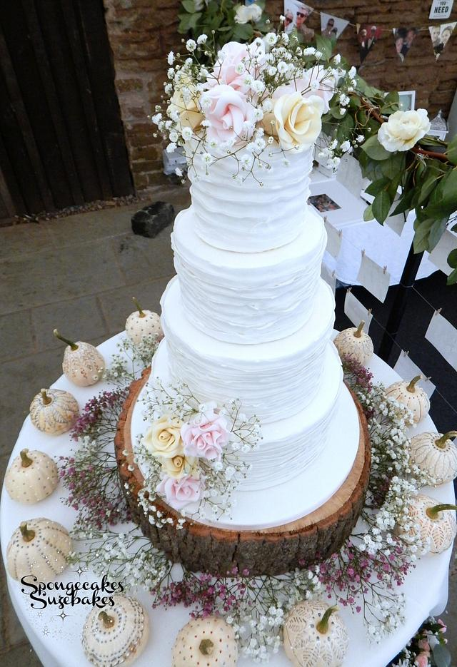 White Ruffle & Rose Wedding Cake
