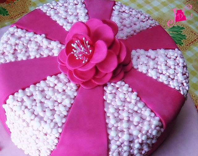A cake with flowers