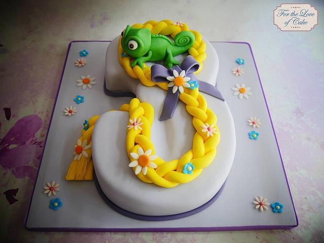 Tangled theme number 3 cake