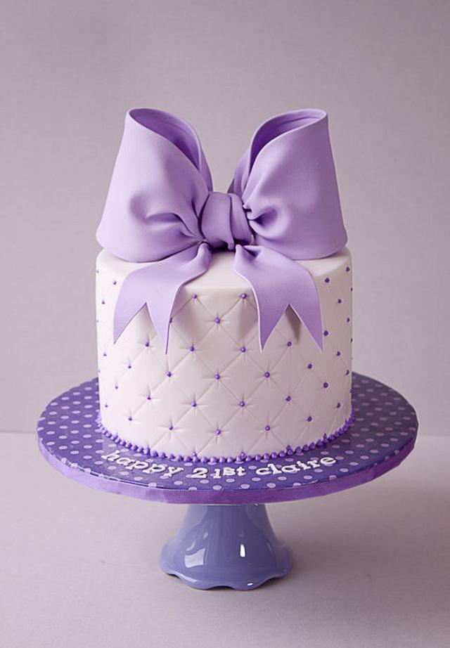 21st Purple Bow Cake