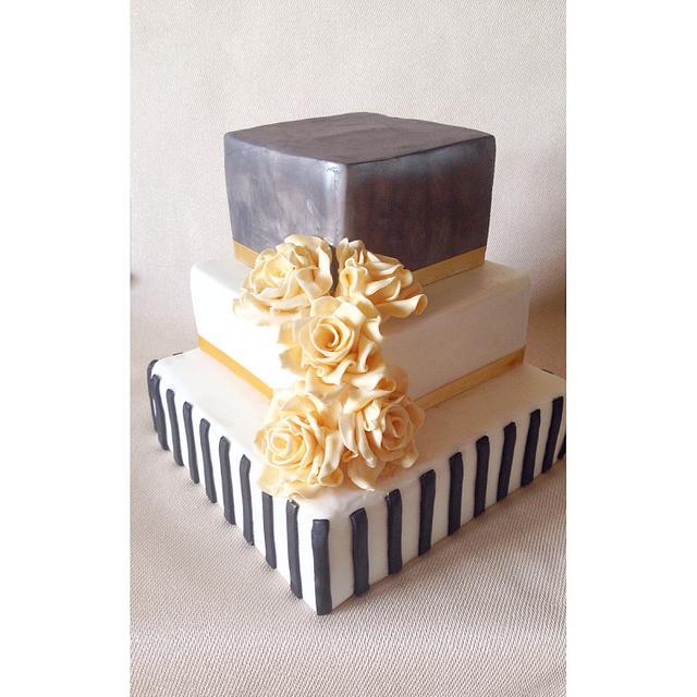 Black white and gold wedding cake!