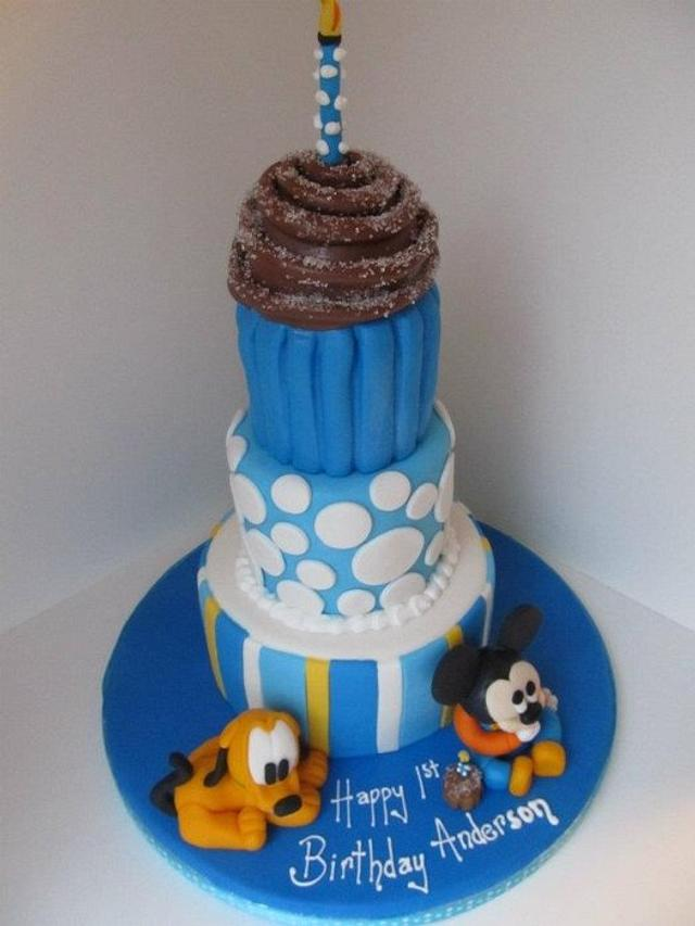 Superb 1St Birthday Baby Mickey Mouse Pluto Cake Cake By Cakesdecor Funny Birthday Cards Online Elaedamsfinfo