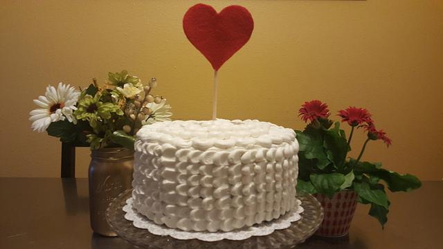 White Petals Anniversary Cake