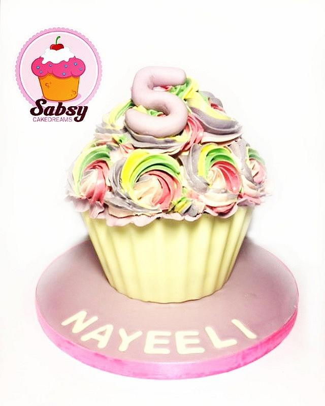 Giant Rainbow cupcakes