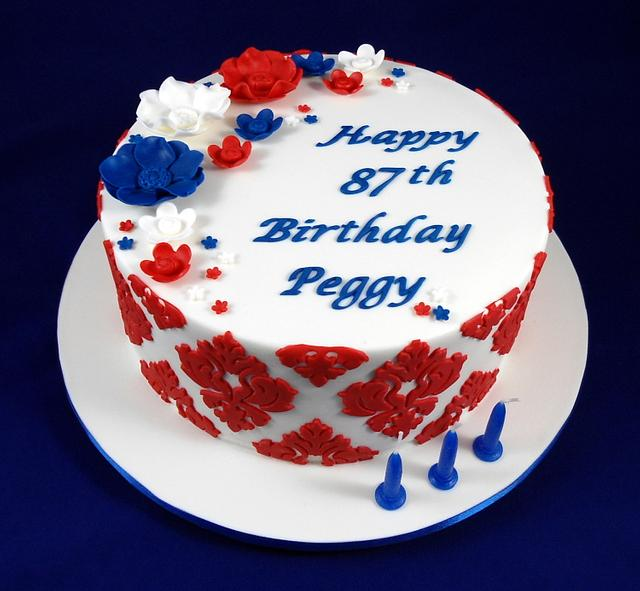 Magnificent Red White And Blue English And Dutch Birthday Cake Cakesdecor Funny Birthday Cards Online Alyptdamsfinfo