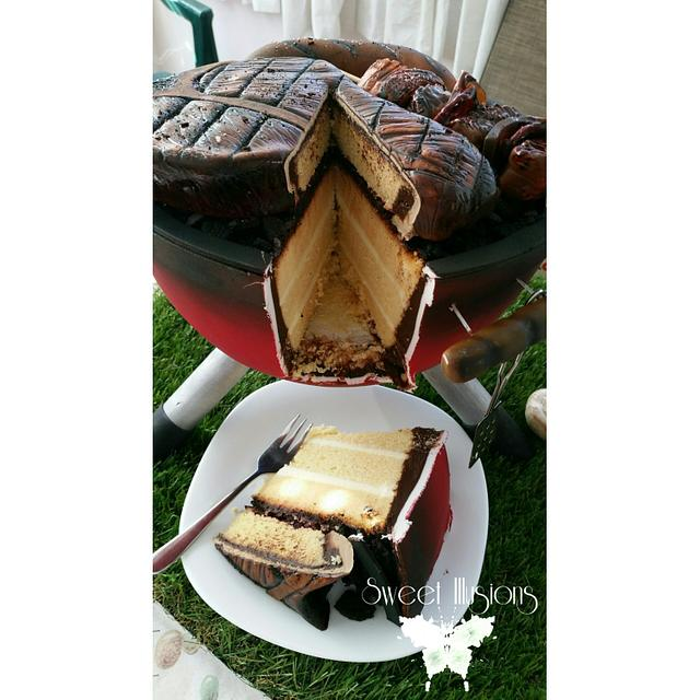 Weber BBQ grill cake with cake steak