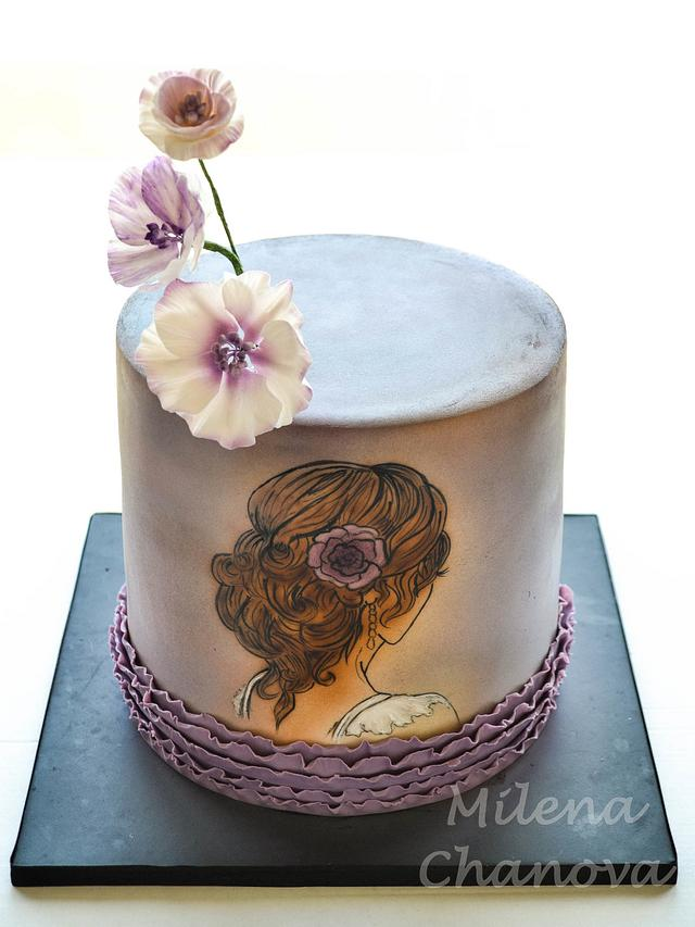 Hand Painted Bridal Shower Cake