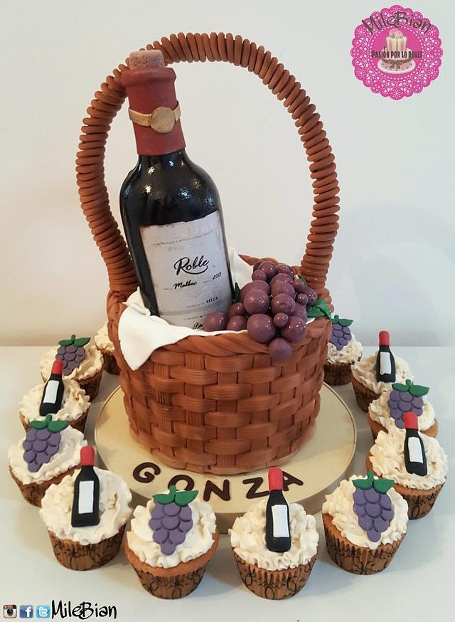 Wine basket, cake & cupcakes