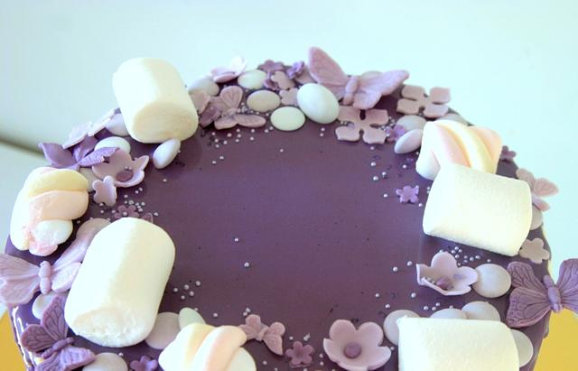 Purple dripping cake