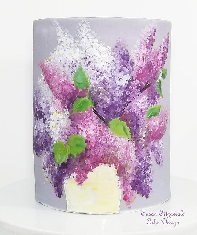 Handpainted Lilacs on Fondant