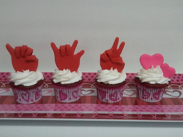 """I Love You"" sign language cupcakes"