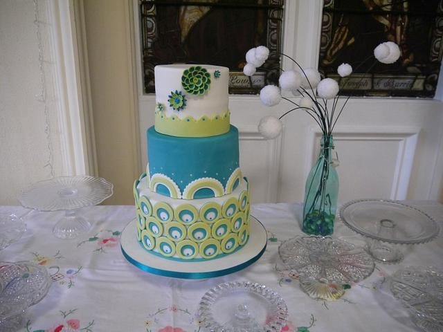 Turquoise and green wedding cake