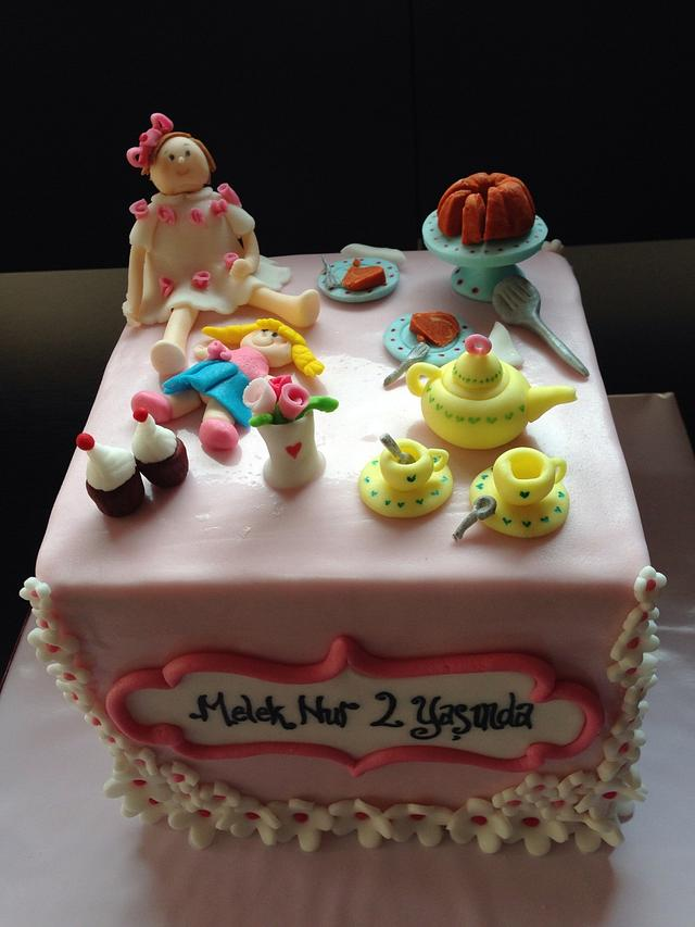 Super Tea Party Birthday Cake For A 2 Year Old Girl Cake By Cakesdecor Funny Birthday Cards Online Elaedamsfinfo