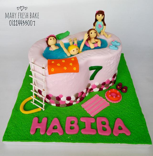Magnificent Swimming Pool Cake Cake By Mahy Hegazy Cakesdecor Personalised Birthday Cards Vishlily Jamesorg
