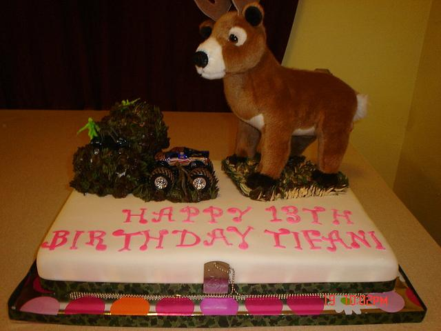 Terrific Girls Deer Hunting Birthday Cake Cake By Dana Cakesdecor Personalised Birthday Cards Veneteletsinfo