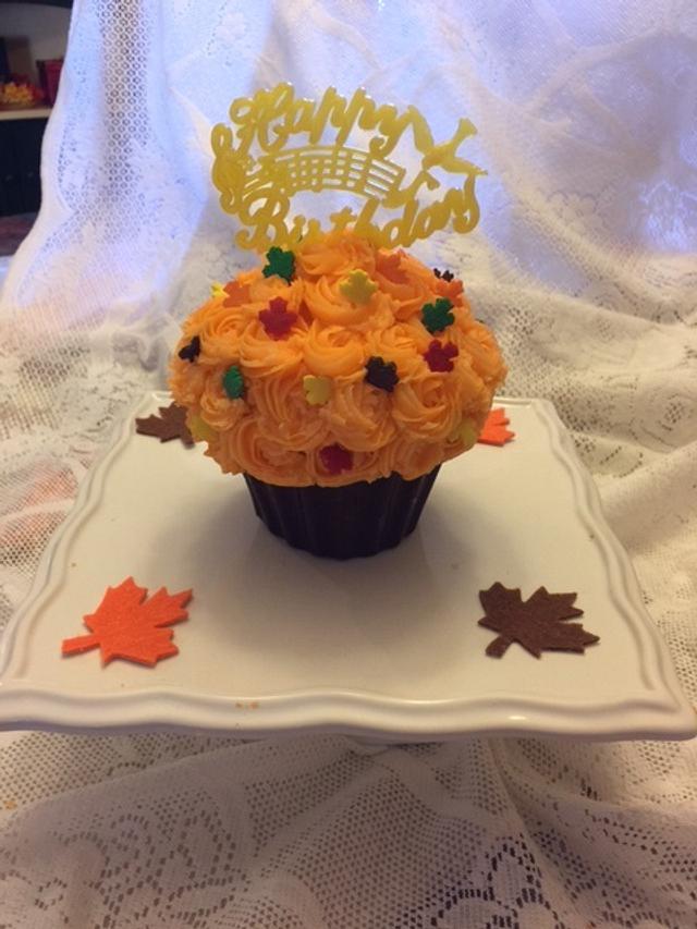Fall Birthday Cupcake