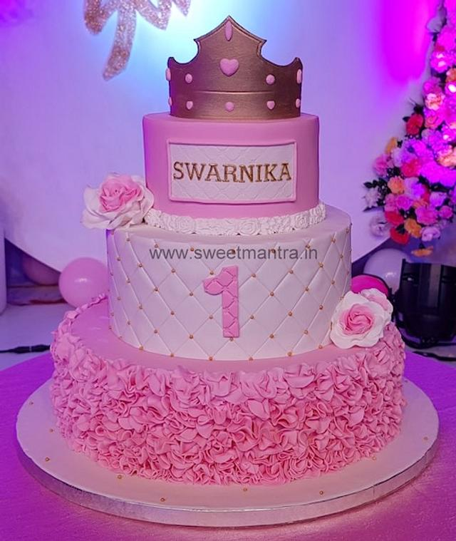 Magnificent 3 Tier Princess Theme Fondant Cake For Girls 1St Birthday Cakesdecor Funny Birthday Cards Online Elaedamsfinfo