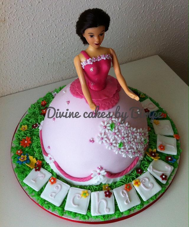 Princess in the garden cake