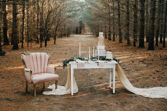Fall forest wedding cake
