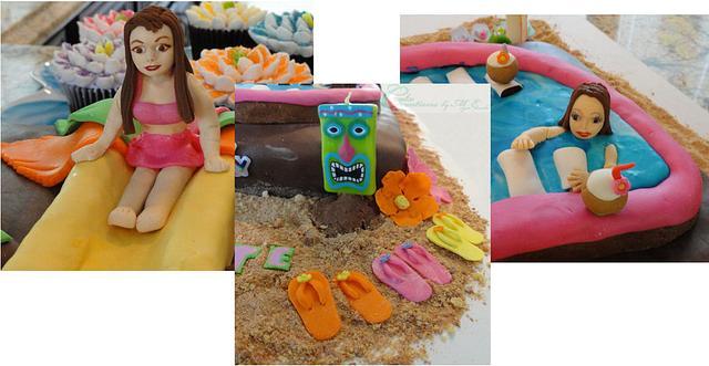 Hawaiian Tiki Swimming Pool Cake