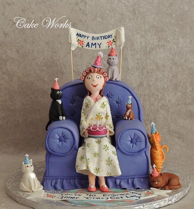 Astonishing 40Th Birthday Crazy Cat Lady Cake By Alisa Seidling Cakesdecor Funny Birthday Cards Online Elaedamsfinfo