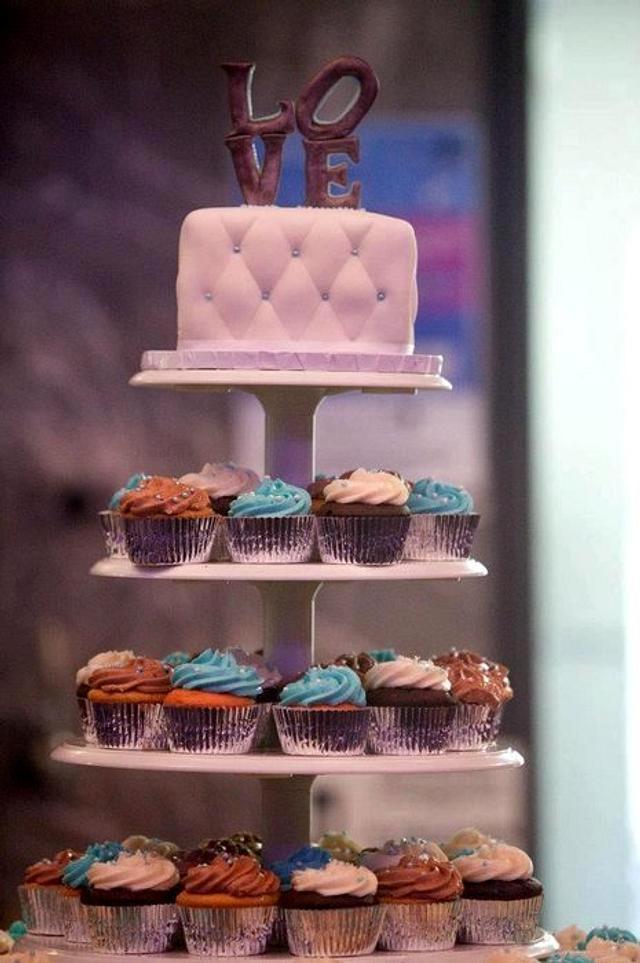LOVE Wedding cupcake tower