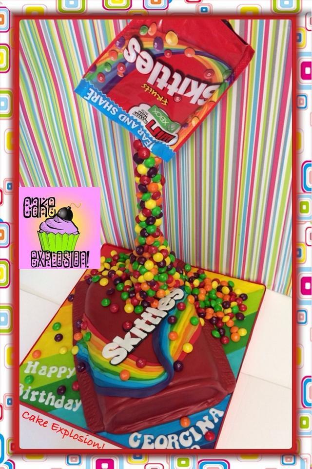Wondrous Gravity Defying Skittles Cake Cake By Cake Explosion Cakesdecor Birthday Cards Printable Benkemecafe Filternl