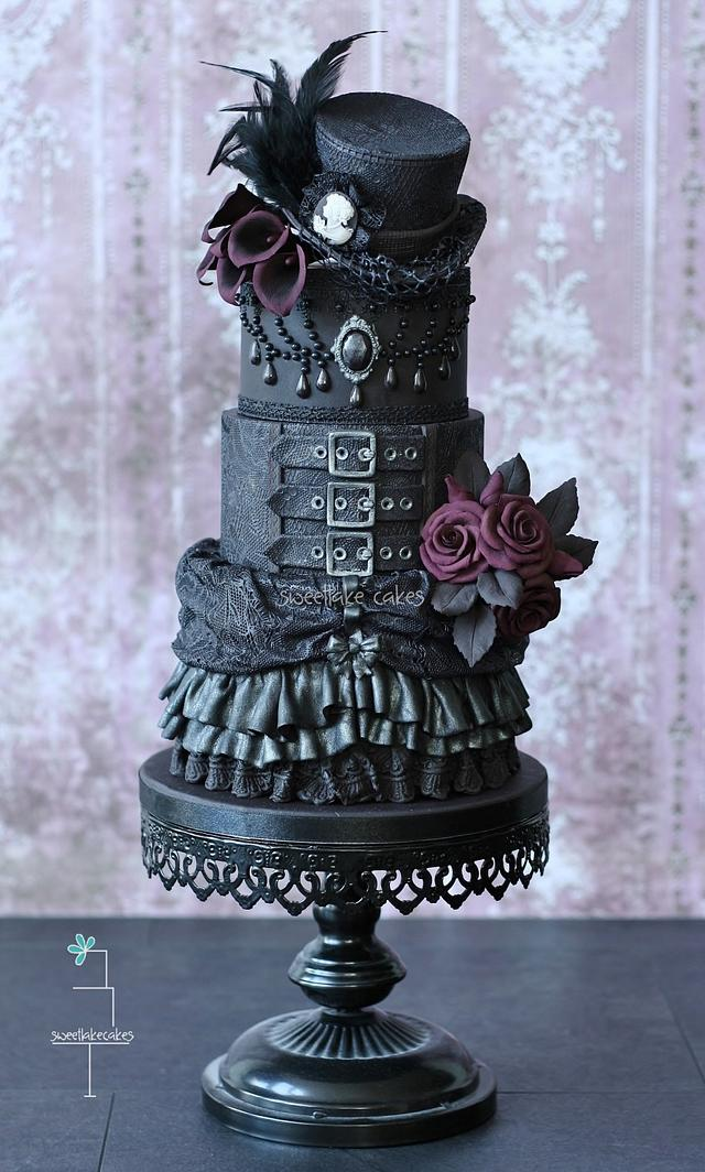 Gothic wedding cake with top hat